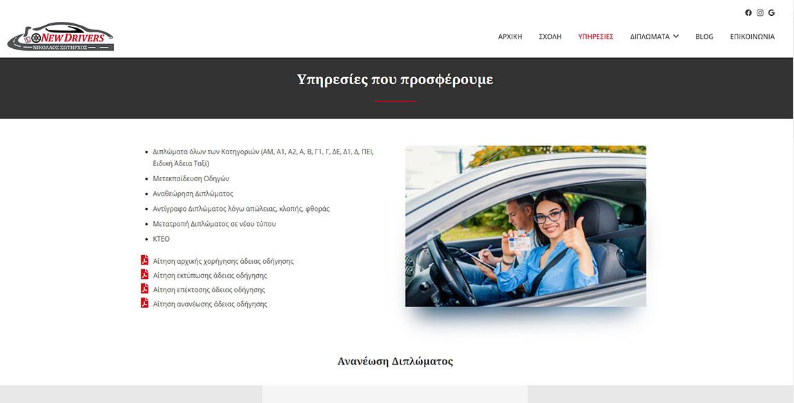 κατασκευή ιστοσελίδας New Drivers