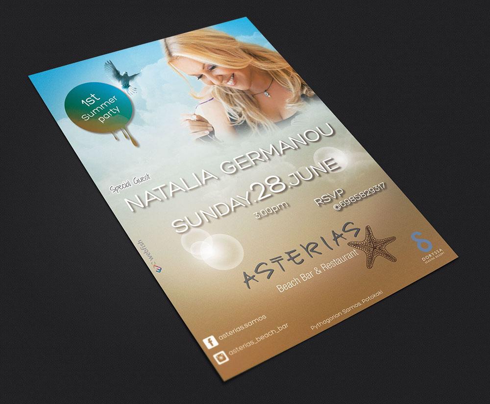 αφίσα Asterias beach bar restaurant