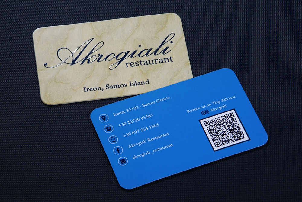 επαγγελματική κάρτα εστιατορίου Akrogiali