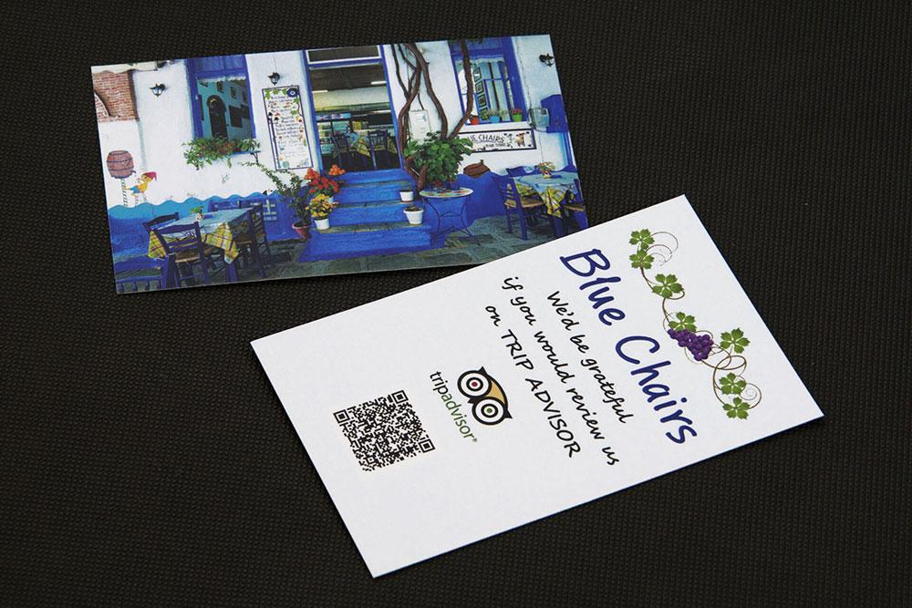 επαγγελματική κάρτα εστιατορίου Blue Chairs
