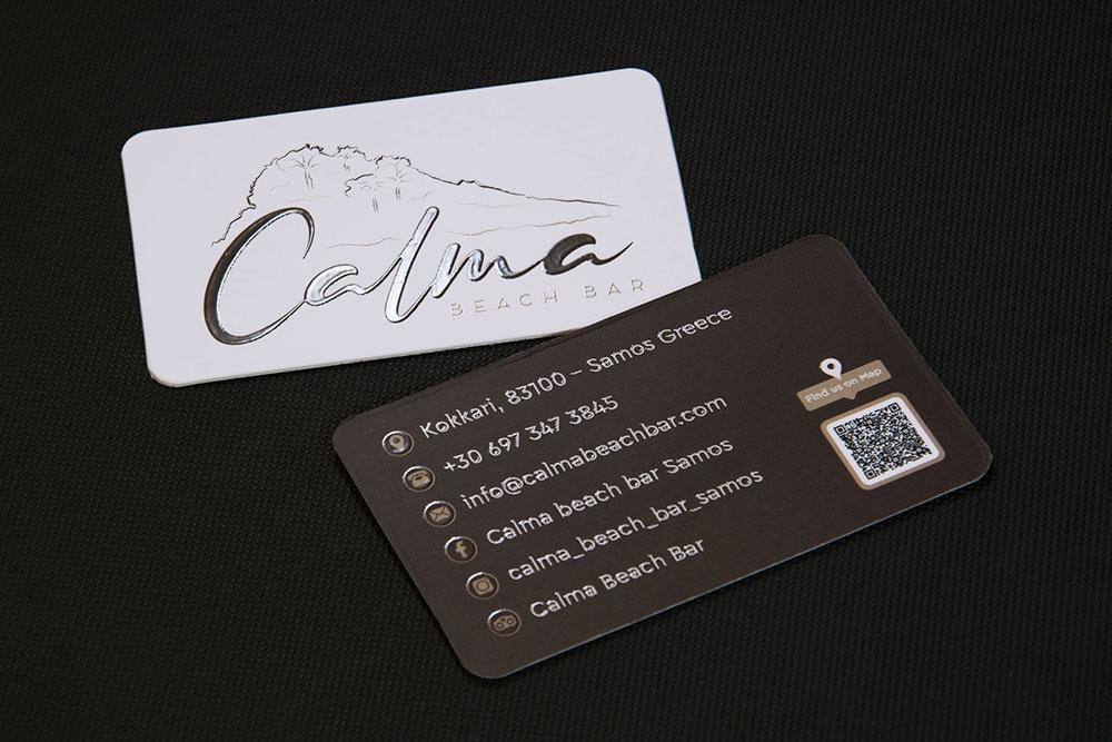 επαγγελματική κάρτα Calma beach bar