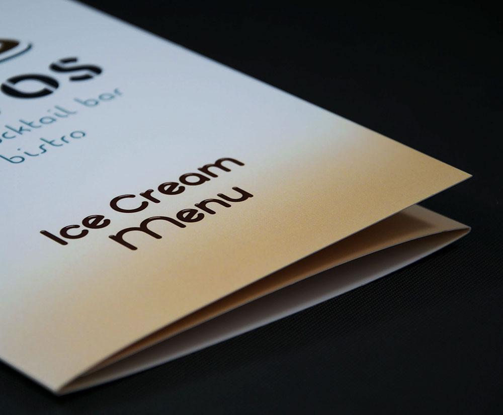 κατάλογος ice cream menu Cavos Bar