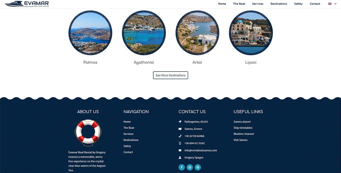 κατασκευή ιστοσελίδας Evamar Rent a Boat