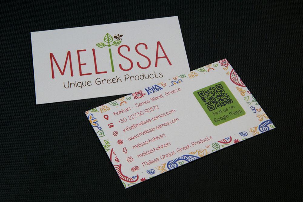 επαγγελματική κάρτα καταστήματος Melissa