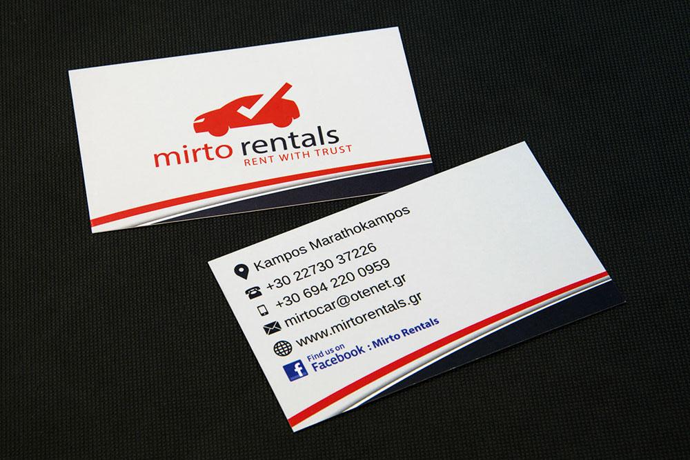 επαγγελματική κάρτα Mirto rentals