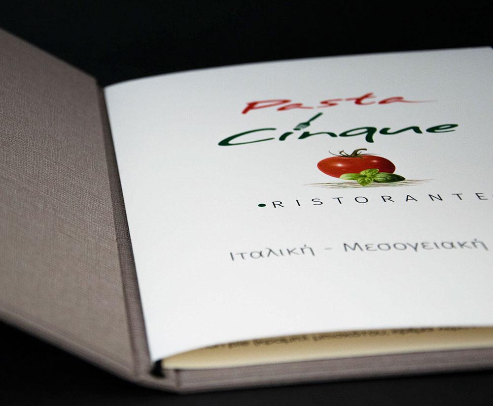 κατάλογος menu Pasta Cinque Menu