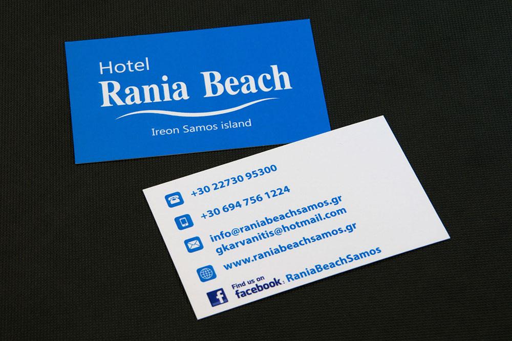 επαγγελματική κάρτα ξενοδοχείου Rania Beach