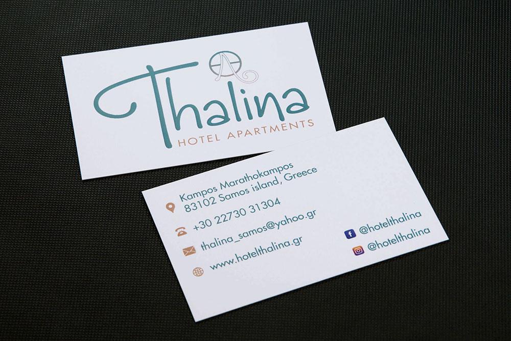 επαγγελματική κάρτα ξενοδοχείου Thalina Hotel Apartments