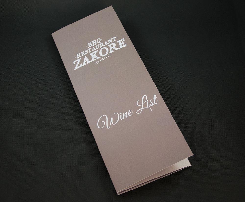 κατάλογος menu Zakore BBQ Restaurant Wine List